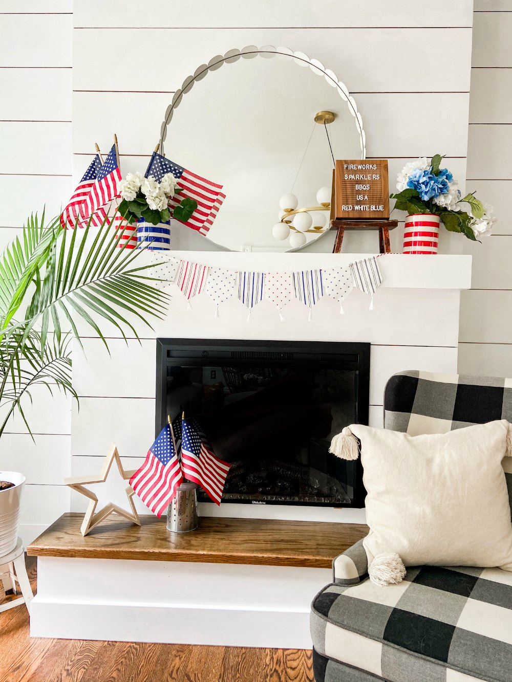 Fourth of July Mantel using dollar items.