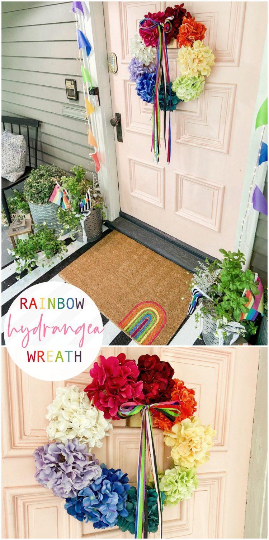 Rainbow Pride Hydrangea Wreath
