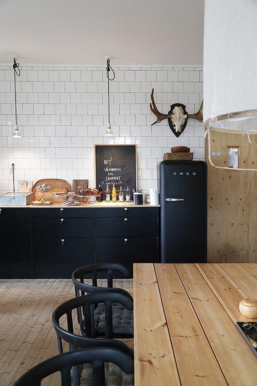 black smeg kitchen