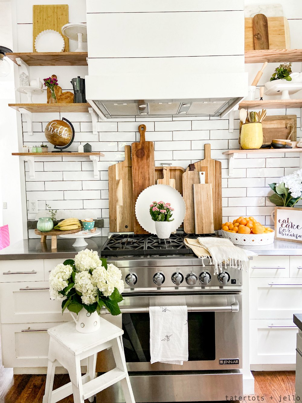 Boho cottage kitchen shelves. Boho Cottage Summer Home Tour. Bring a little boho summer color and flair to your cottage home with these bright and happy ideas!