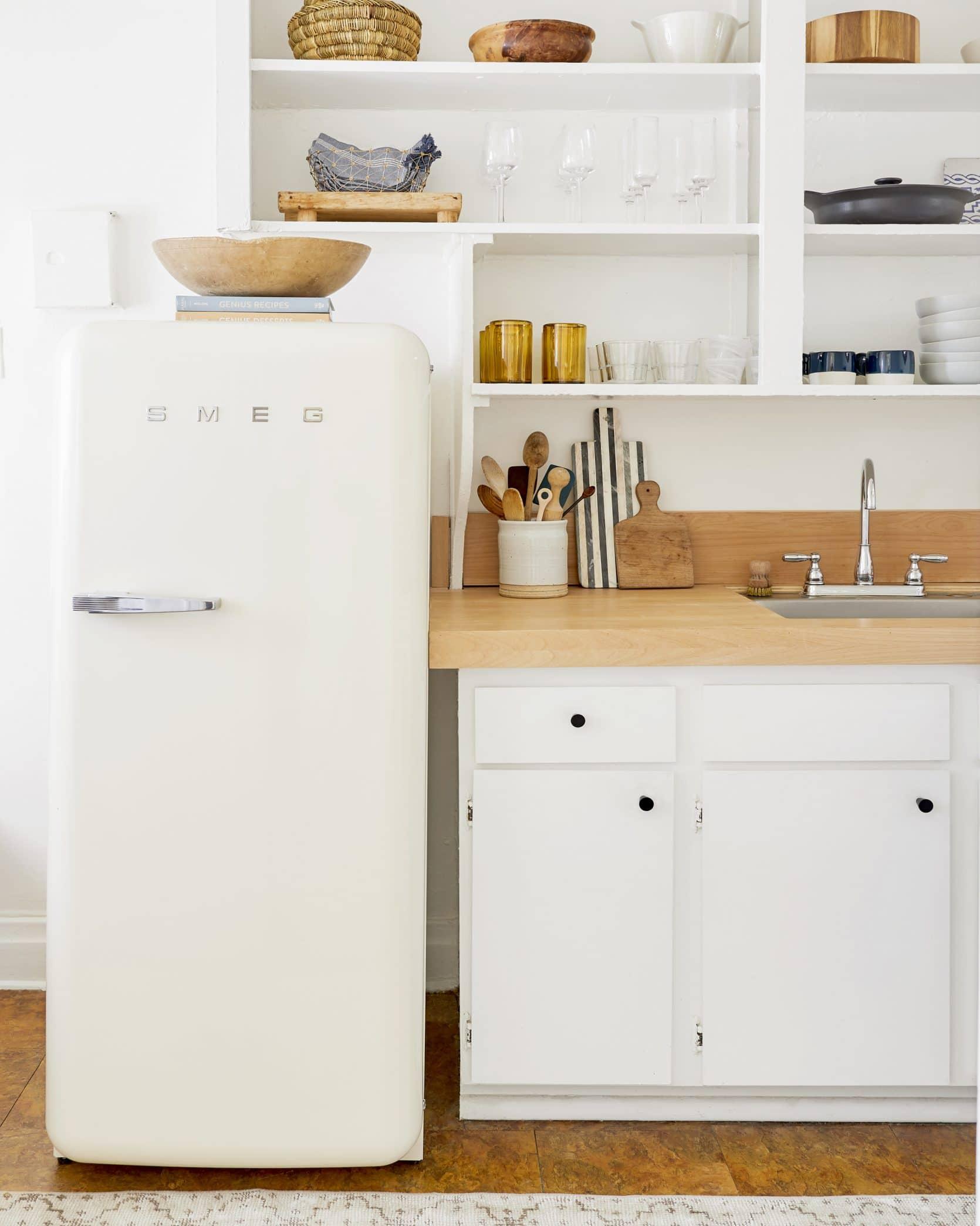 White Smeg kitchen at Emily Henderson.
