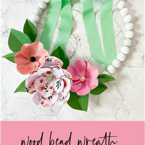 How to make a wood bead wreath with paper flowers