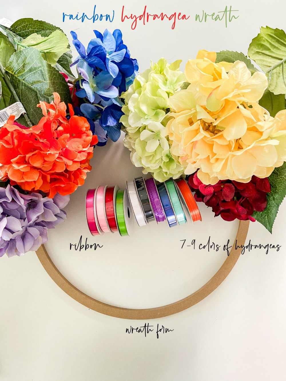 Rainbow Pride Hydrangea Wreath Supplies and Directions.
