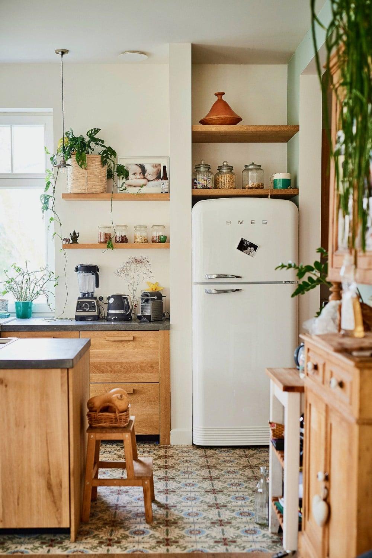 White Smeg Fridge Kitchen at Planete Deco.