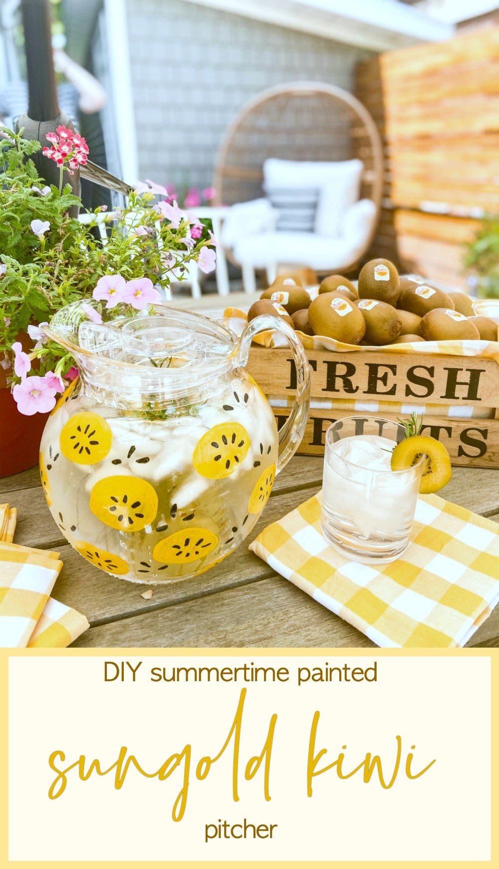 DIY Summertime Painted SunGold Kiwi Pitcher. Celebrate Summer by making a painted pitcher featuring the bright and delicious Zespri™ SunGold™ Kiwifruit.