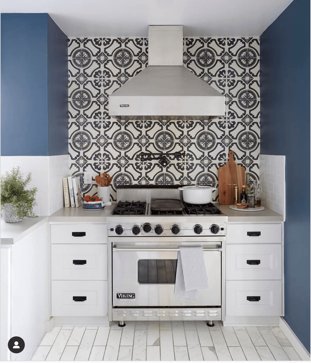Navy and White Boho Kitchen Wall Tile from Ginny MacDonald