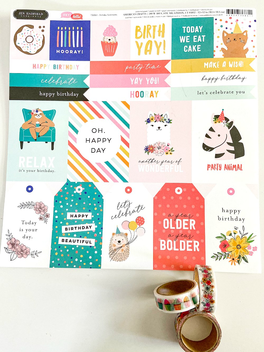 Birthday sentiment paper has 3x4 and 2x2 sentiments plus banners and tags to make card making so easy.