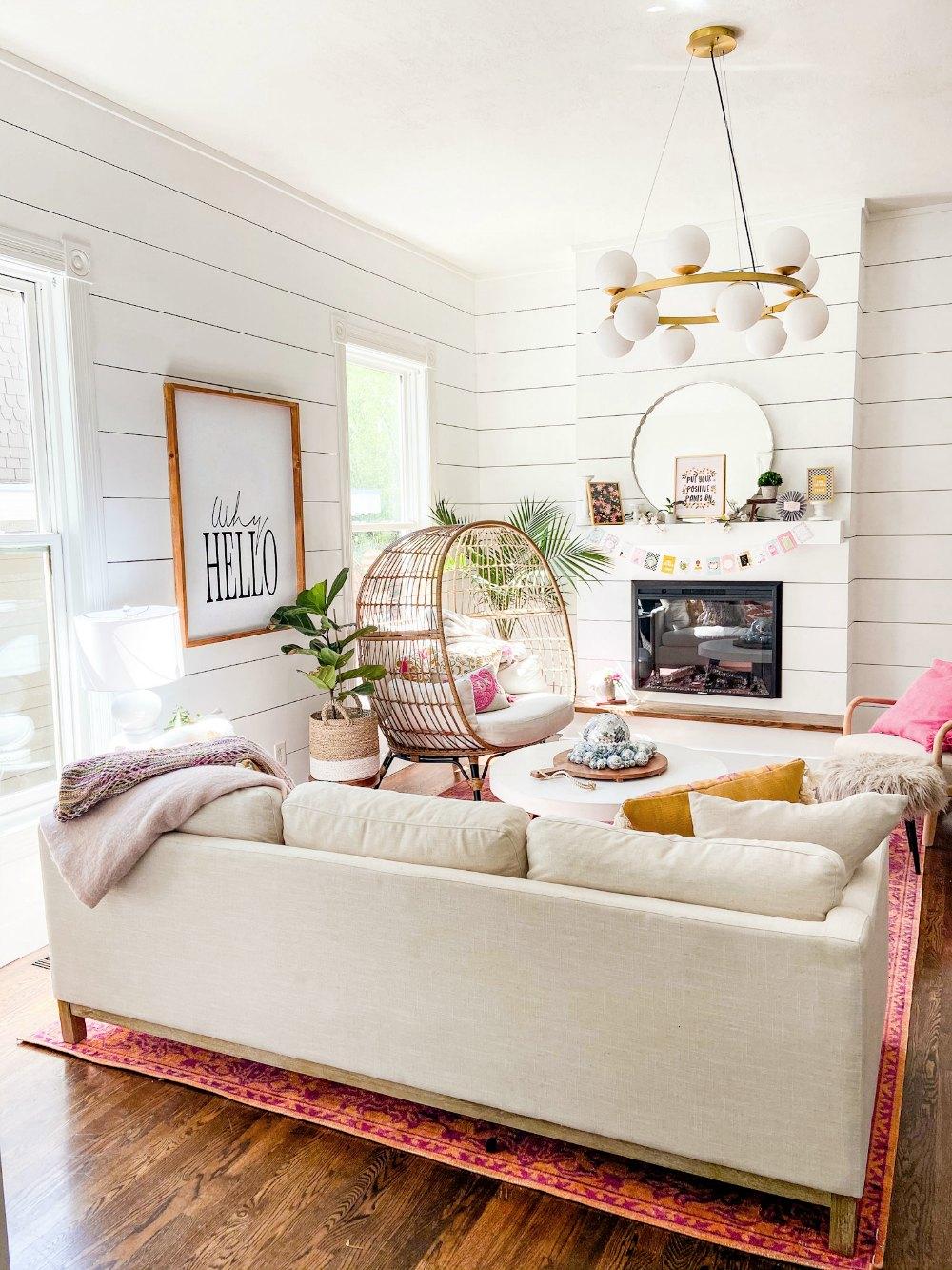 Bright Summer Boho Cottage Family Room