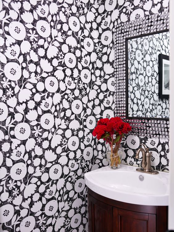 Clearcut black and white flower removable wallpaper at Spoonflower