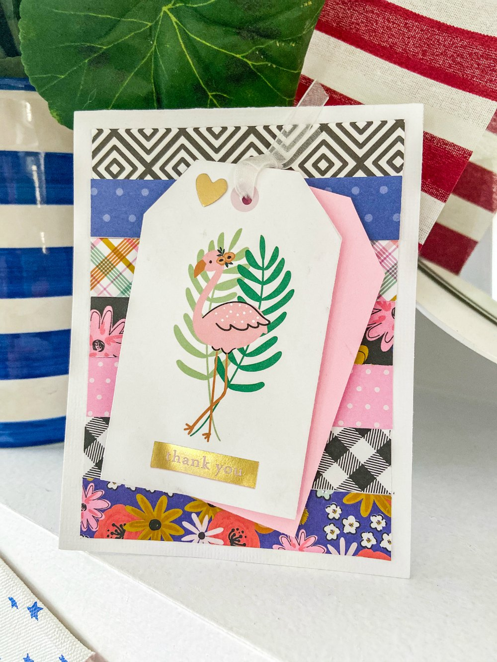 Flamingo thank you card will full instructions.