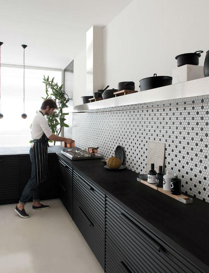 Black and White hex tile backsplash