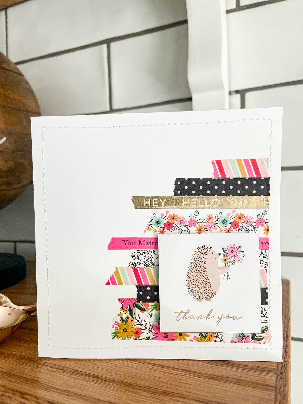 Hedgehog washi tape thank you card with full instructions.