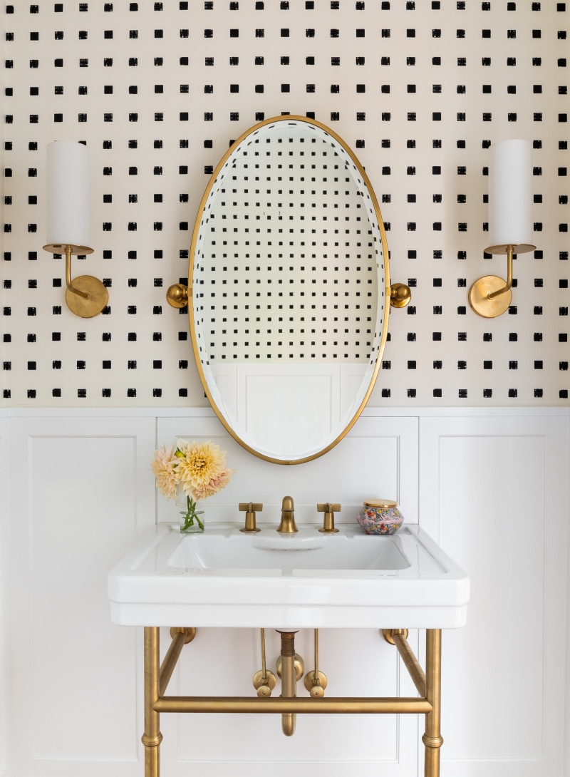 In Honor of Design Half Bath Makeover with Wallpaper