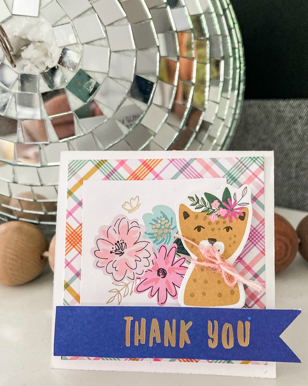 Leopard thank you card with full instructions.
