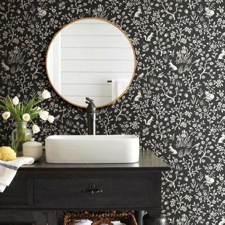 Magnolia Fox and Hare Removable Wallpaper.