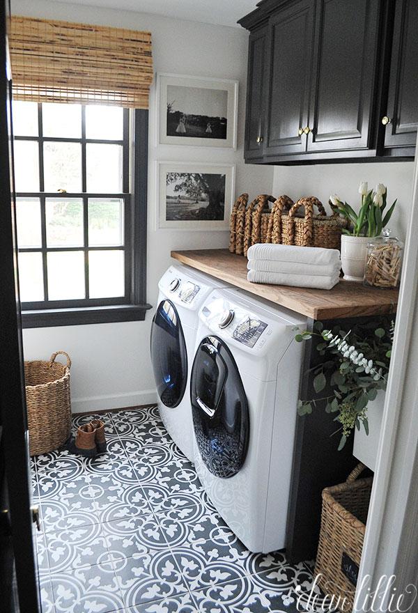 Peel and Stick laundry room floor tiles.