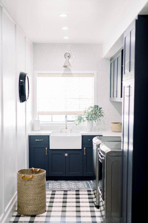 Plaid tile laundry room