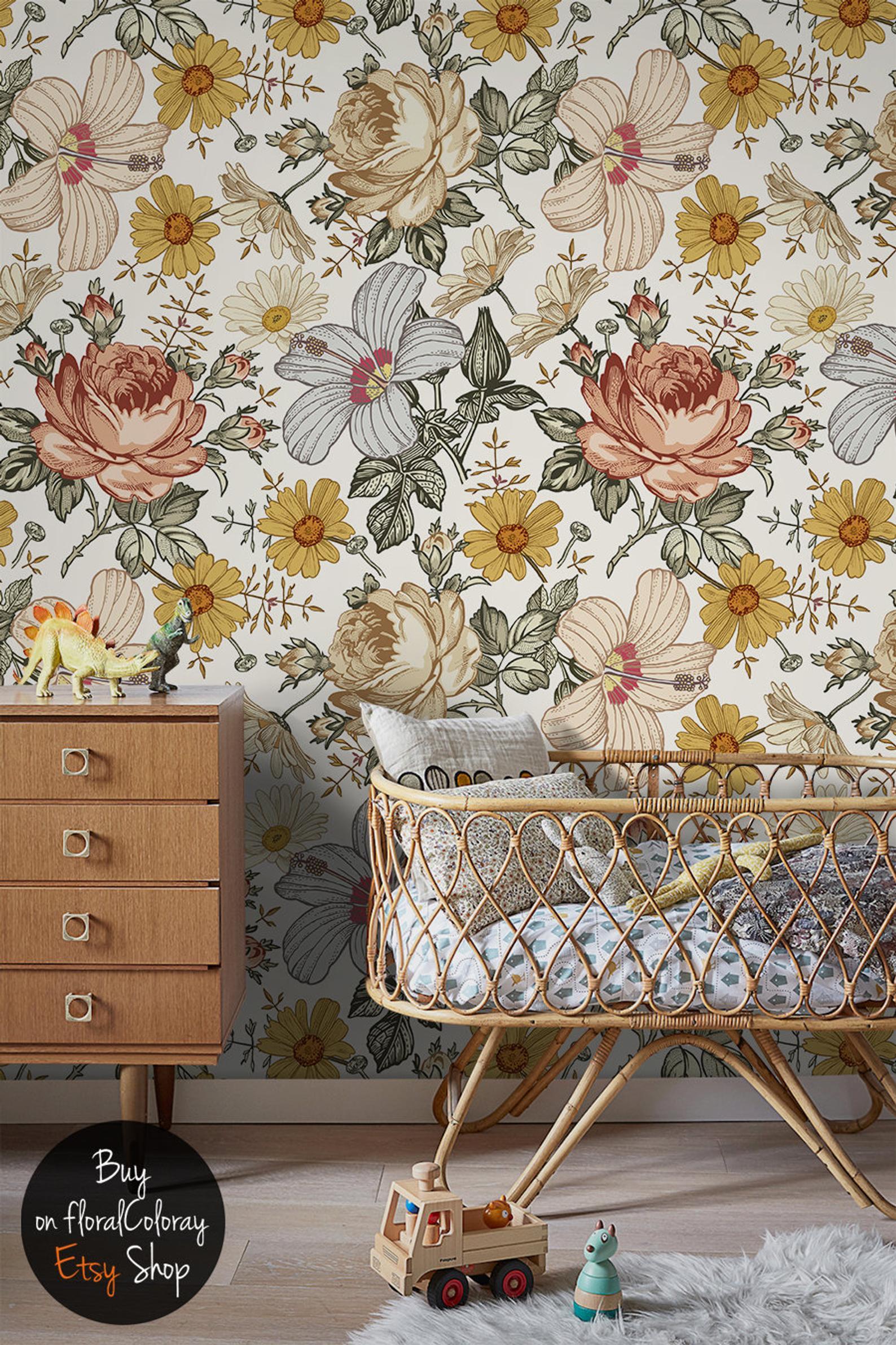 Farm Flowers Removable Wallpaper via etsy