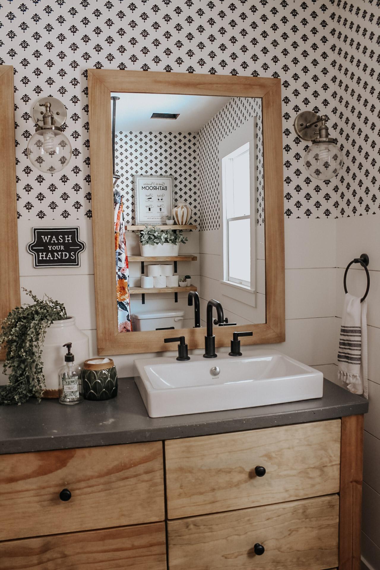 Rhiannon Lawson Design Master Bath Makeover with Removable Wallpaper