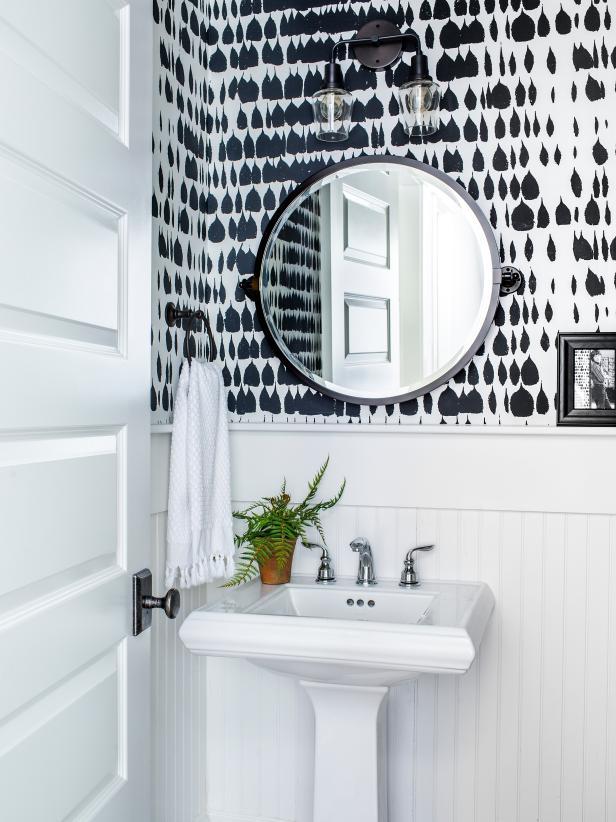 Wallpapered half bath at HGTV