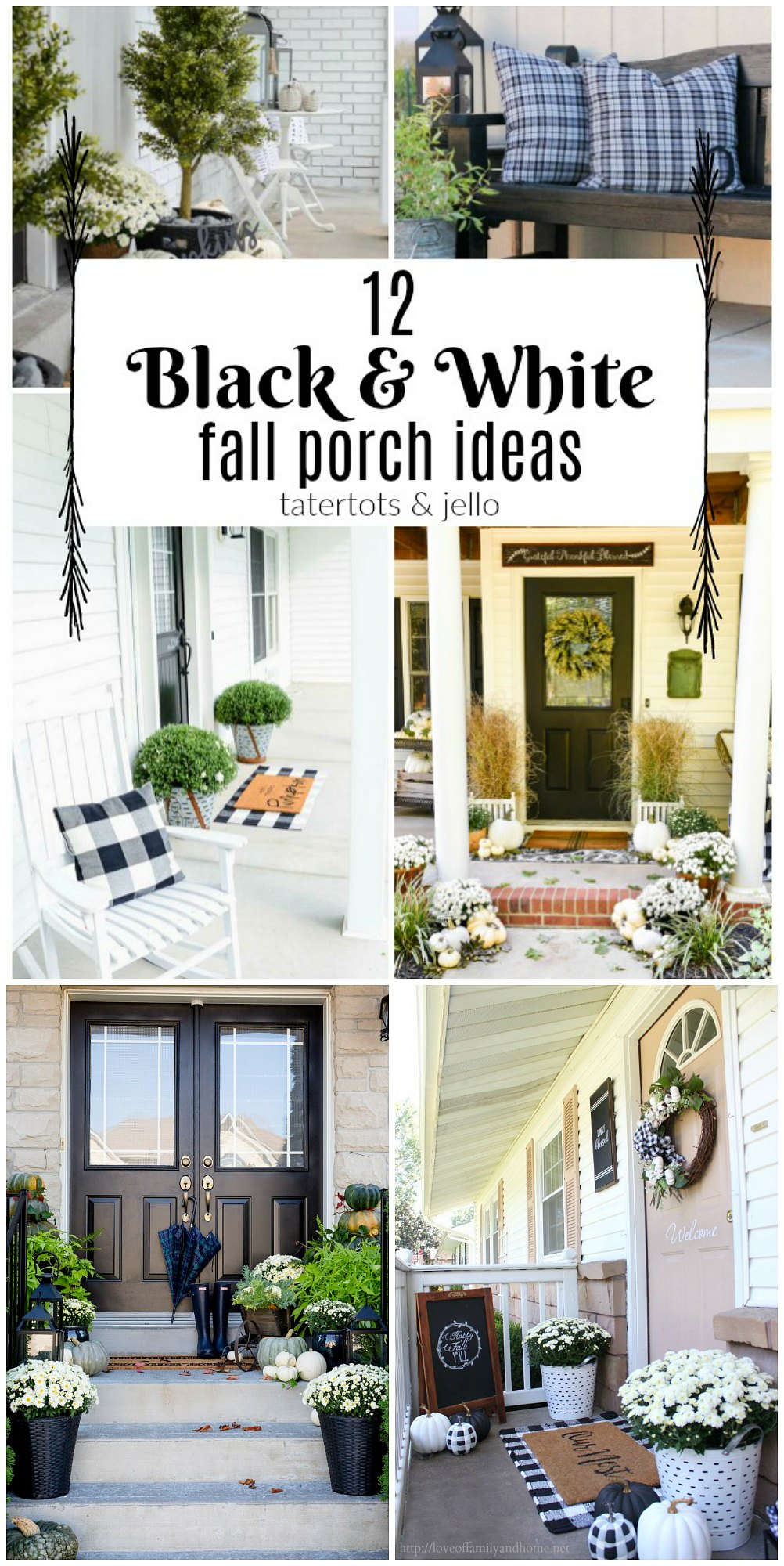 12 Black and White Porch Ideas! Create a striking neutral porch with these gorgeous black and white porch ideas!