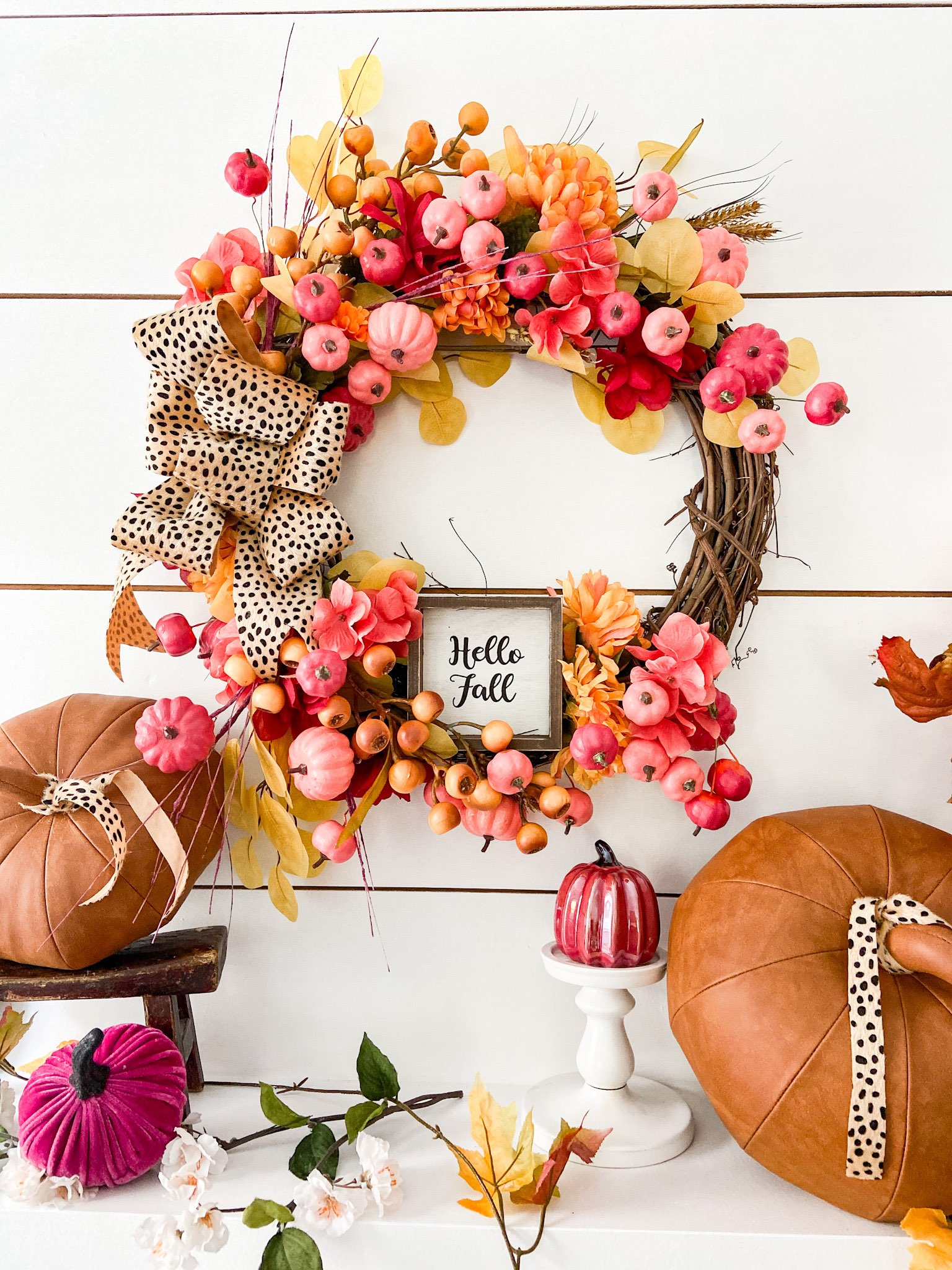 Dollar Store Pumpkin Wreath