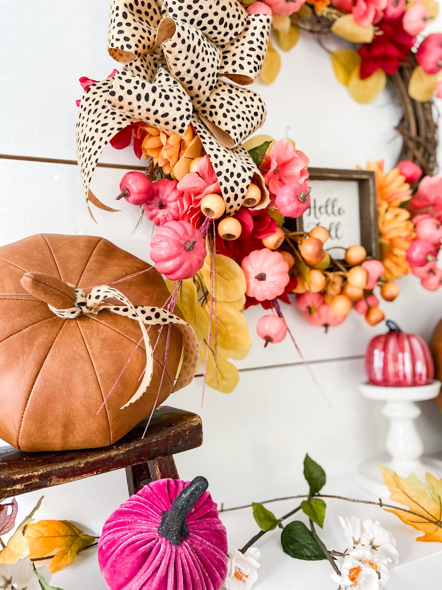 painted pumpkin wreath with cheetah bow