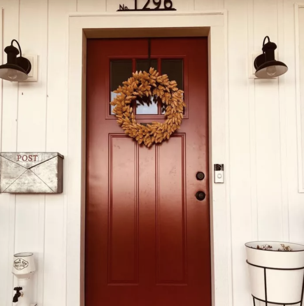 Target faux hops wreath for a fall porch