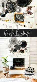 Easy Black and White Fall Mantel with Paper!