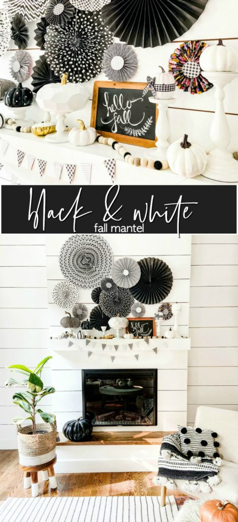 Fall Black and White Mantel with Paper