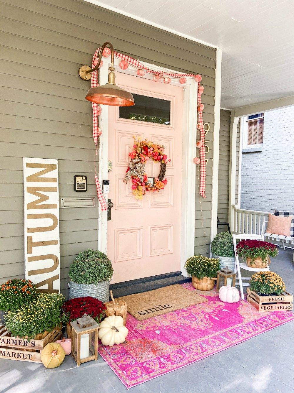 Fall Porchwith Dollar Store Pumpkin Wreath