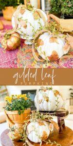 DIY Gilded Leaf Pumpkins