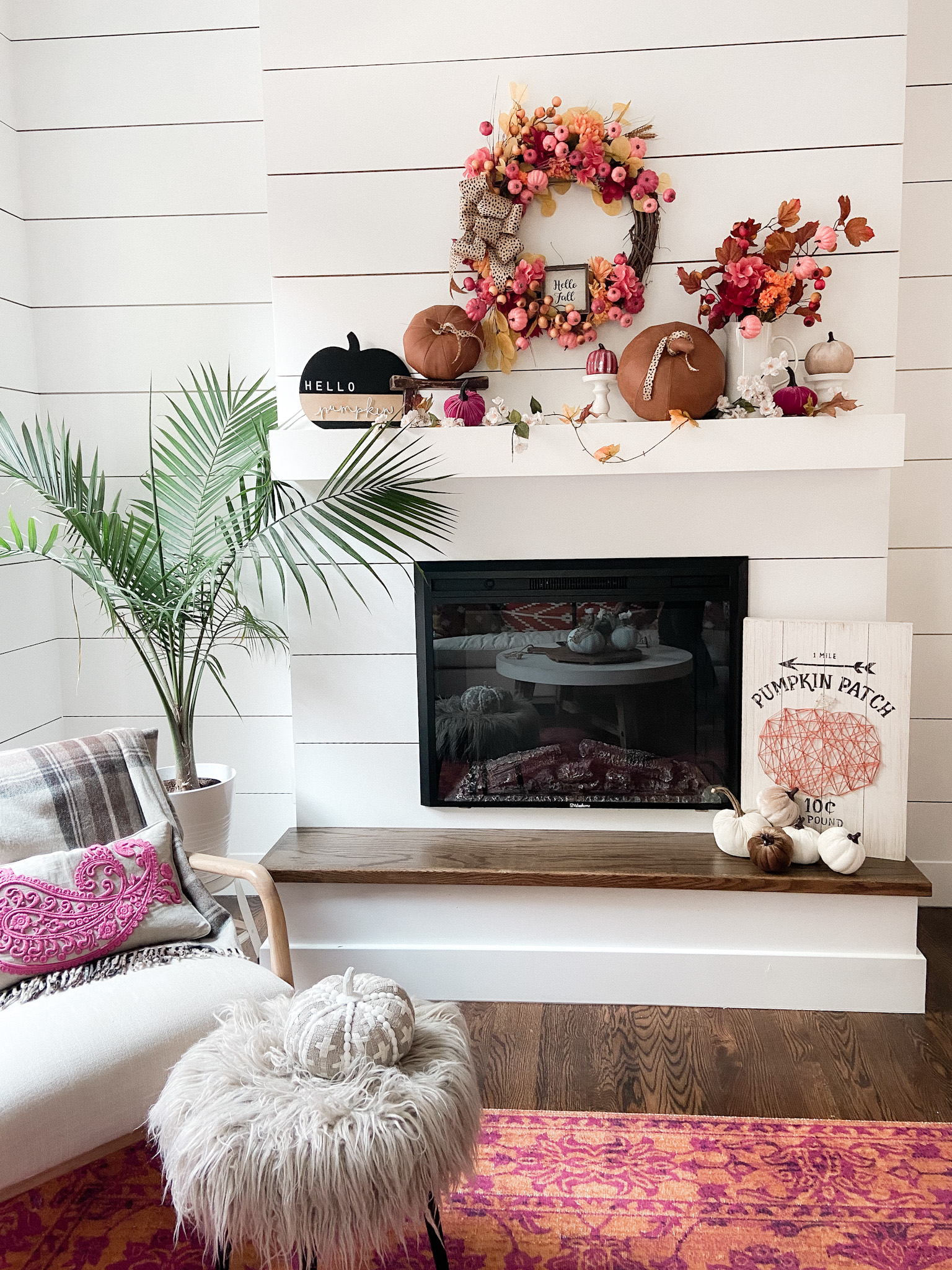 Boho Cottage Colorful Fall Home Tour. Bring warm and cozy vibes into your home for fall with these easy fall decorating ideas for your porch, entryway, kitchen, family room and stairs.