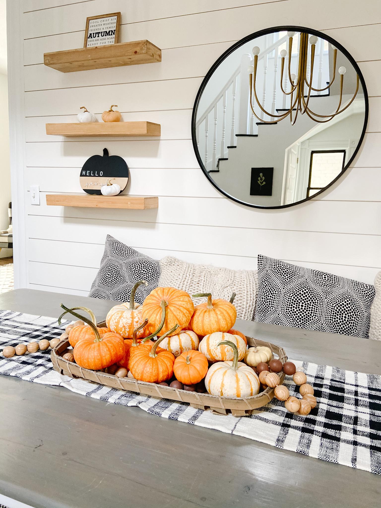 Make a fresh pumpkin fall centerpiece