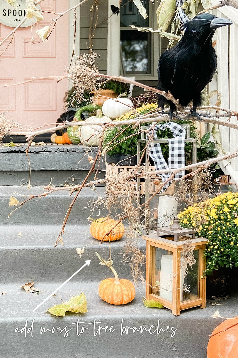 "Halloween DIY Spooky Forest Porch. Add some branches, crows and moss to create an easy ""spooky"" forest for Halloween!"