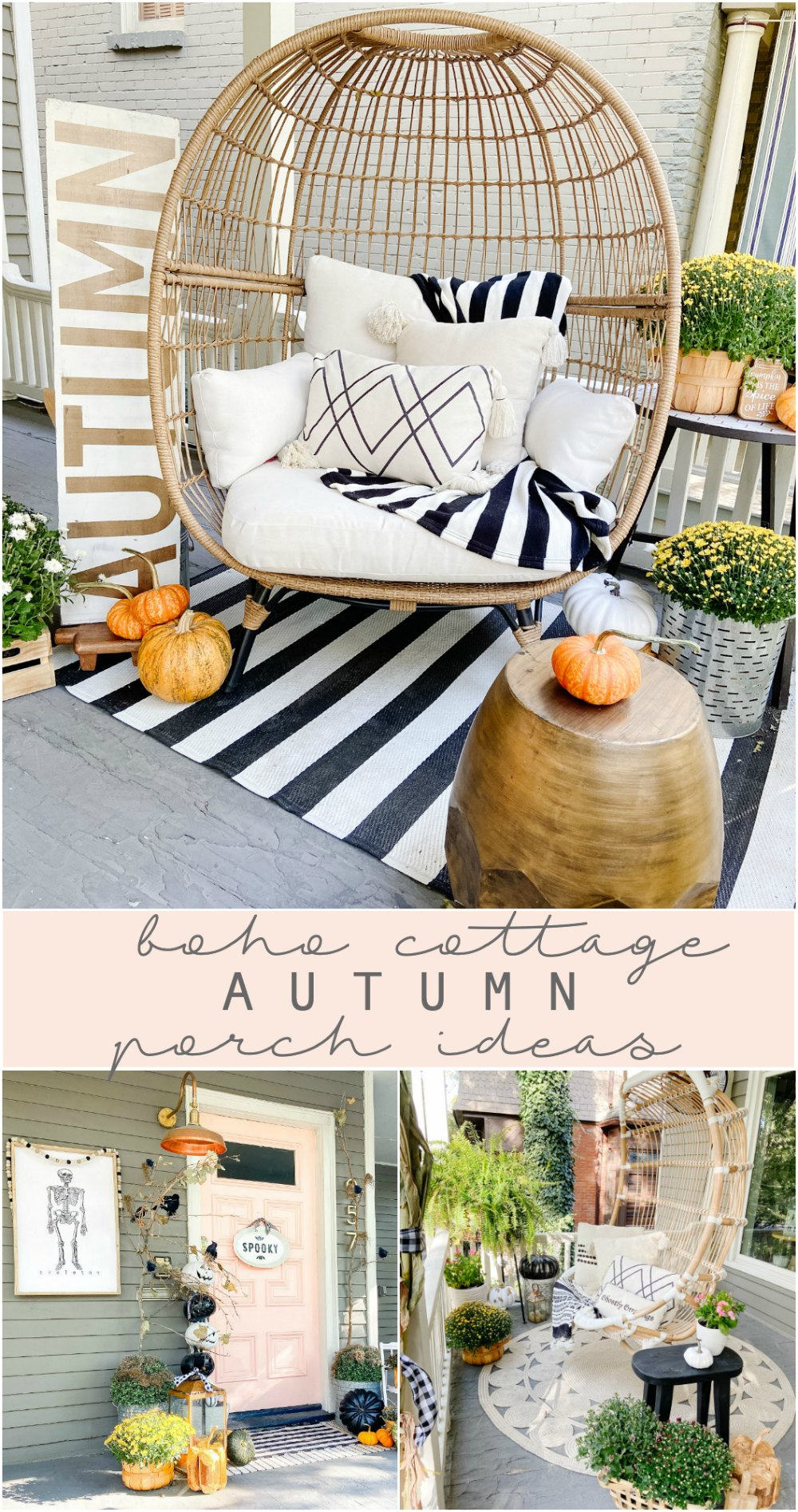 Boho Cottage Fall Porch Ideas. Use rattan furniture, potted flowers, pumpkins and cozy pillows to create a warm and welcoming fall porch.