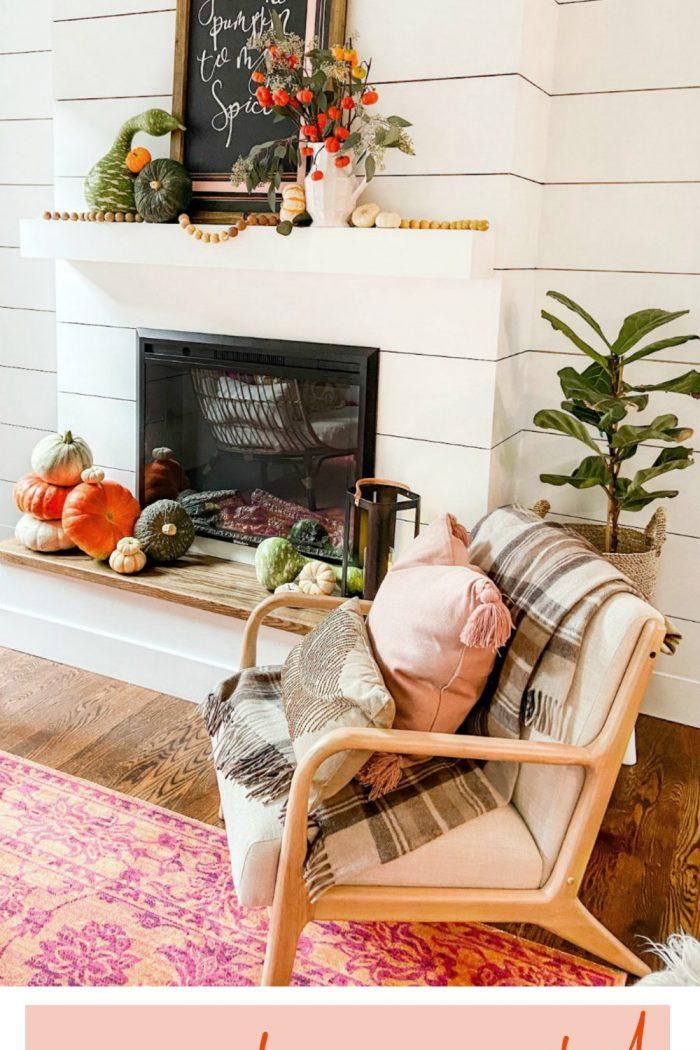 Natural Fall Pumpkin Mantel with DIY Chalkboard Art