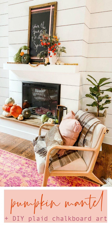 Natural Pumpkin Mantel and DIY Plaid Chalkboard Art