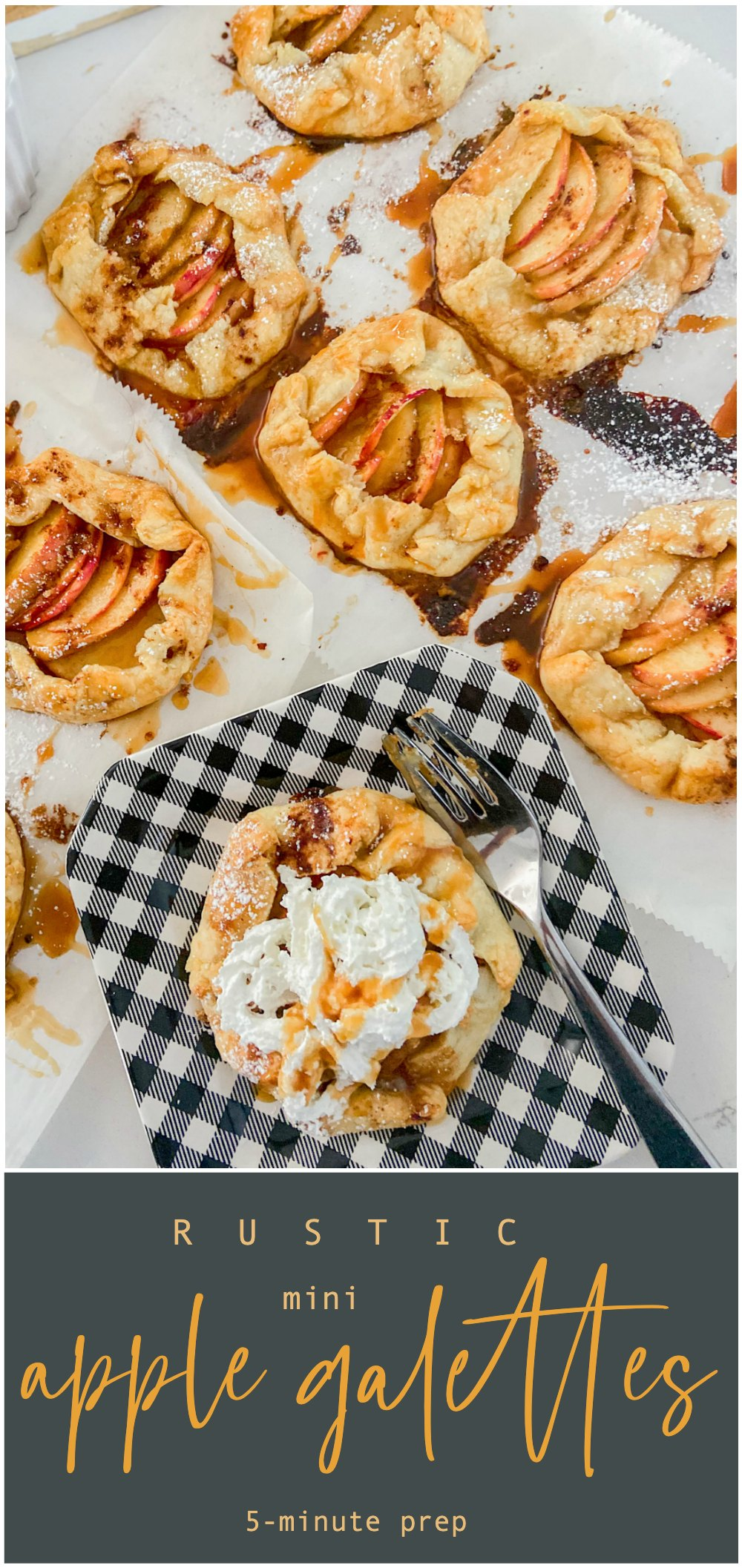 Rustic Mini Apple Galettes. It's apple season! Celebrate by making these easy rustic apple hand pies. They are perfect for fall picnics and family desserts!