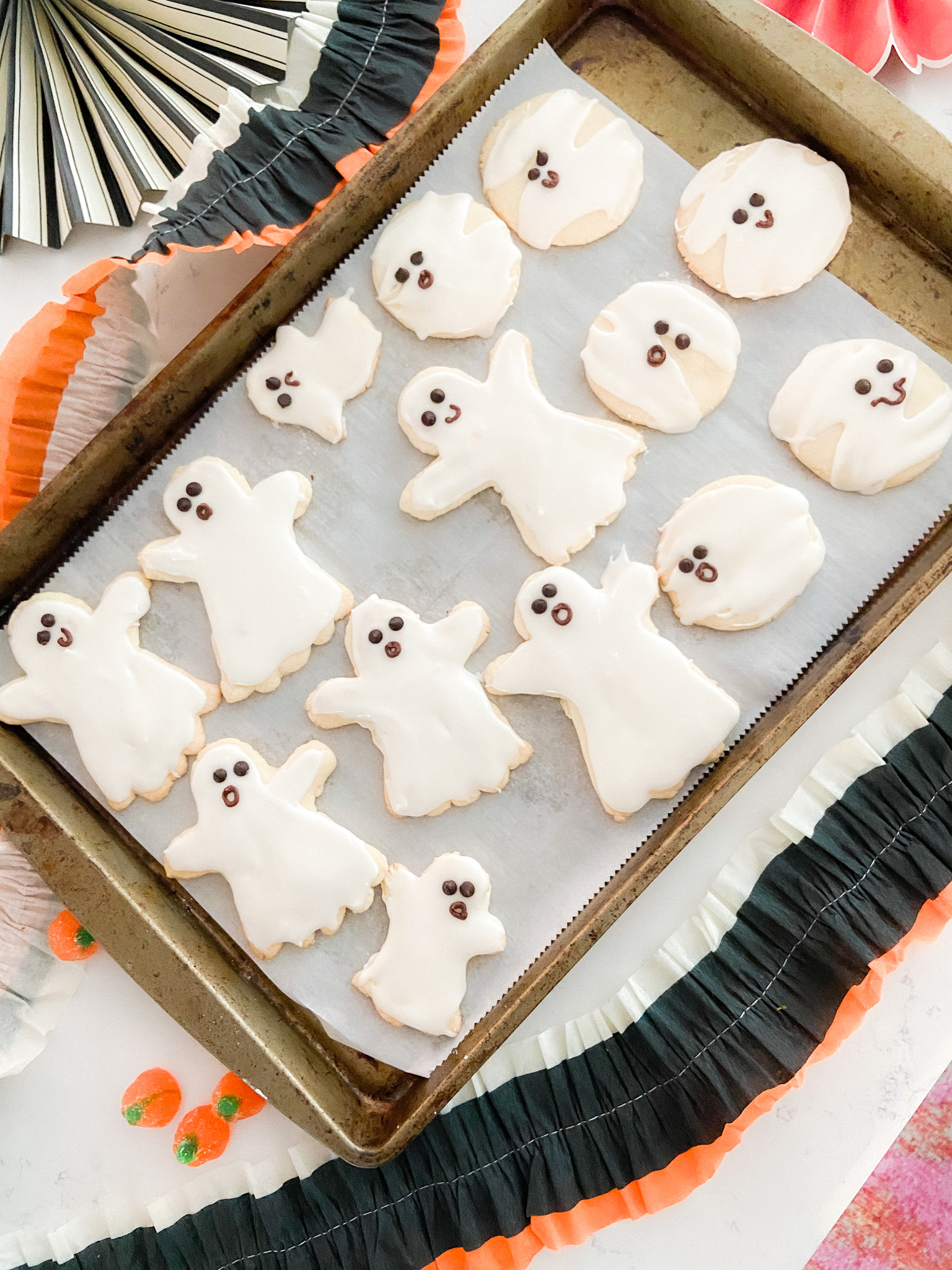 Ghost No Chill Sugar Cookies with 3 Minute Frosting. Celebrate Halloween by making shaped cookies with your kids. This recipe is quick to make with no chill time and frosting that whips up in minutes.