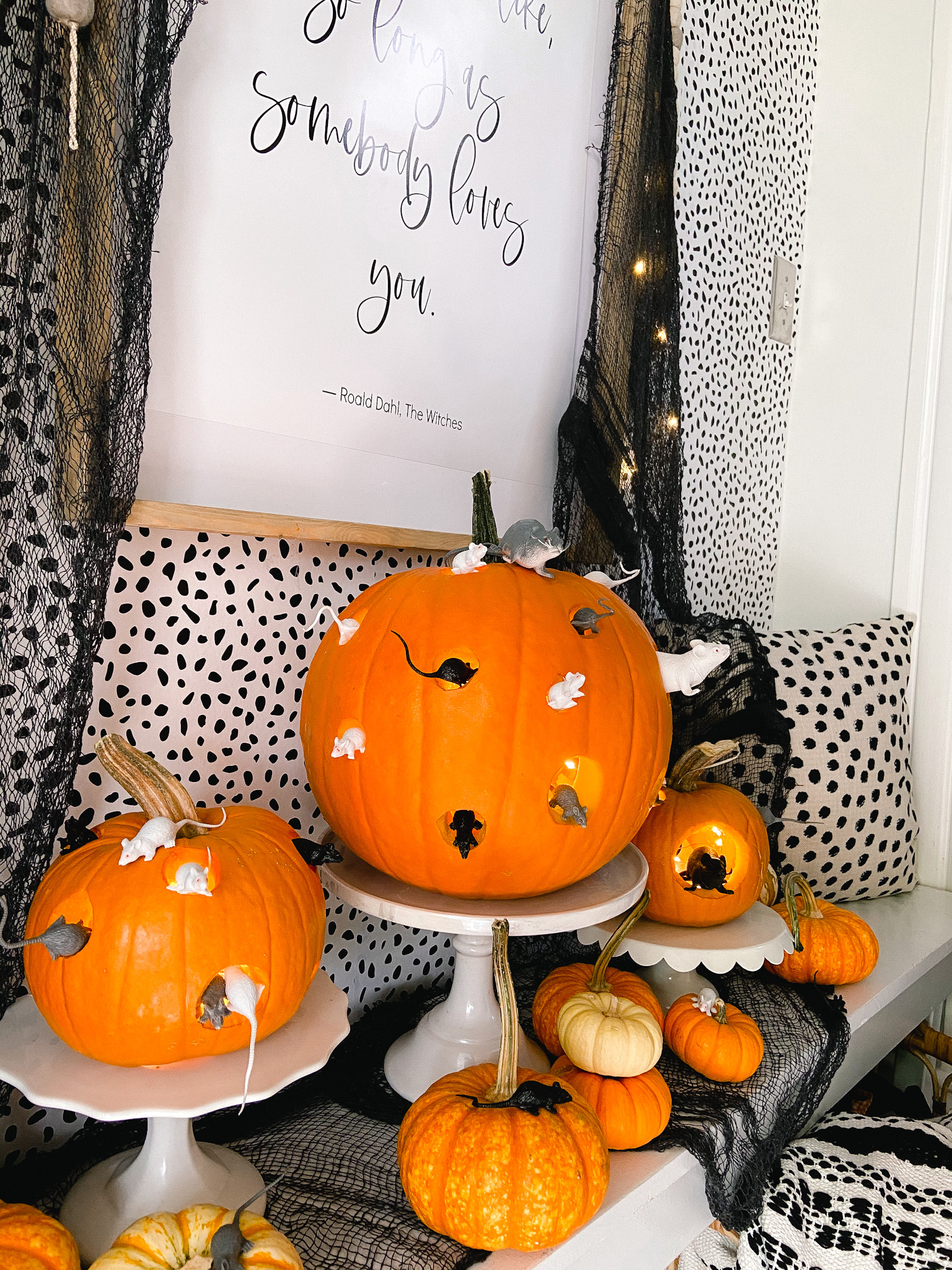DIY The Witches Mice Pumpkins and Free Printable! Celebrate the new Ronald Dahl movie - The Witches by making Mice Pumpkins and printing out the inspiring quote from the movie.