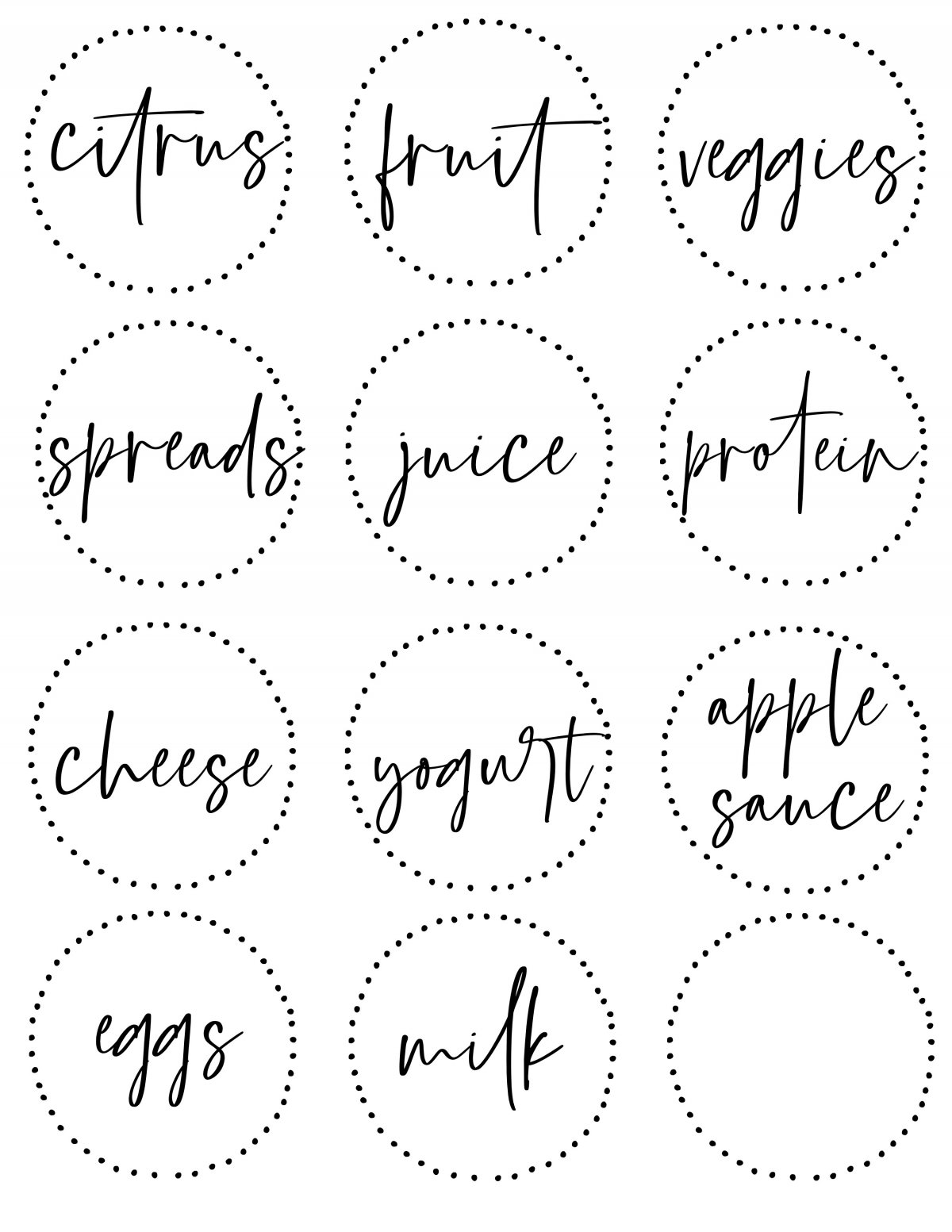 Free printable fridge labels. Just print these labels off on printable sticker paper, cut them out and use them on containers inside your fridge to get organized!!