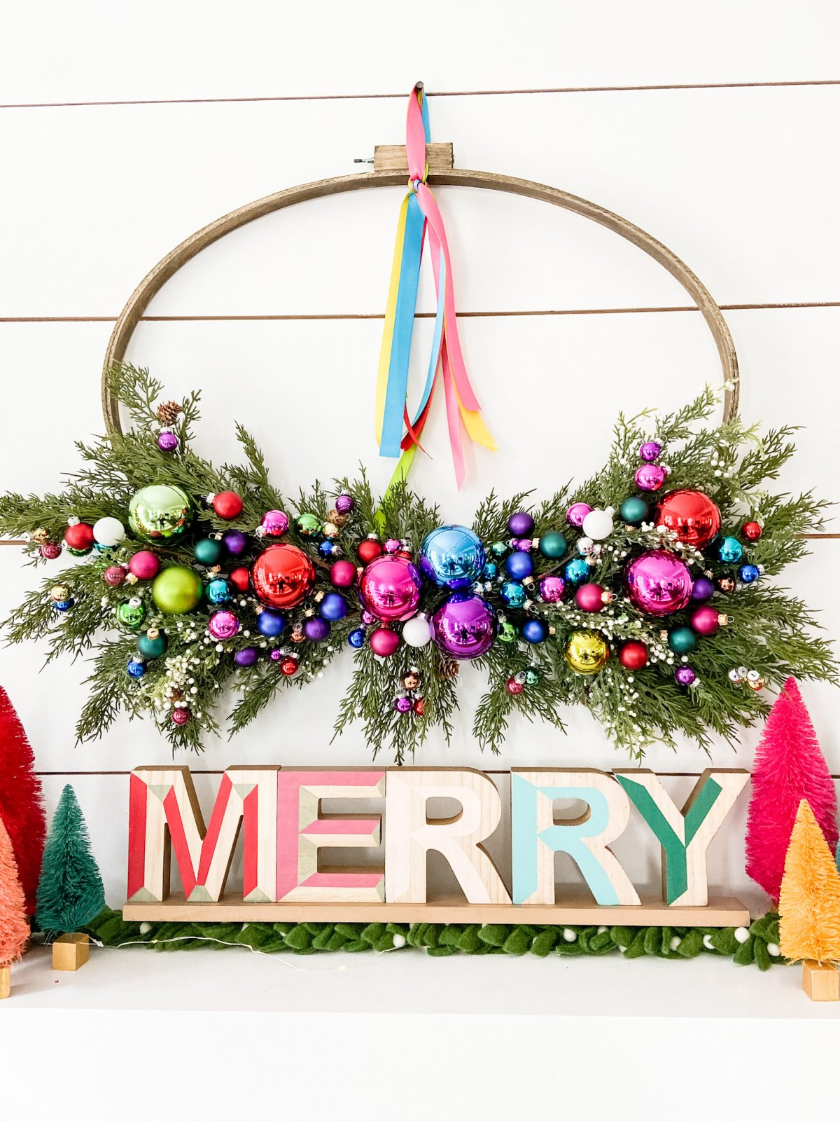 Holiday Colorful Hoop Wreath