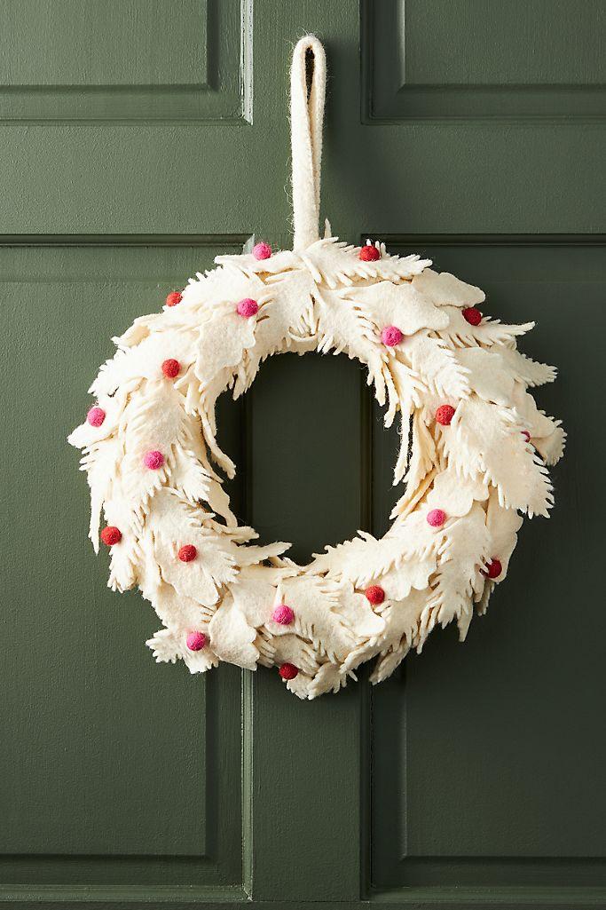 Anthropologie Felt Flower Holiday Wreath