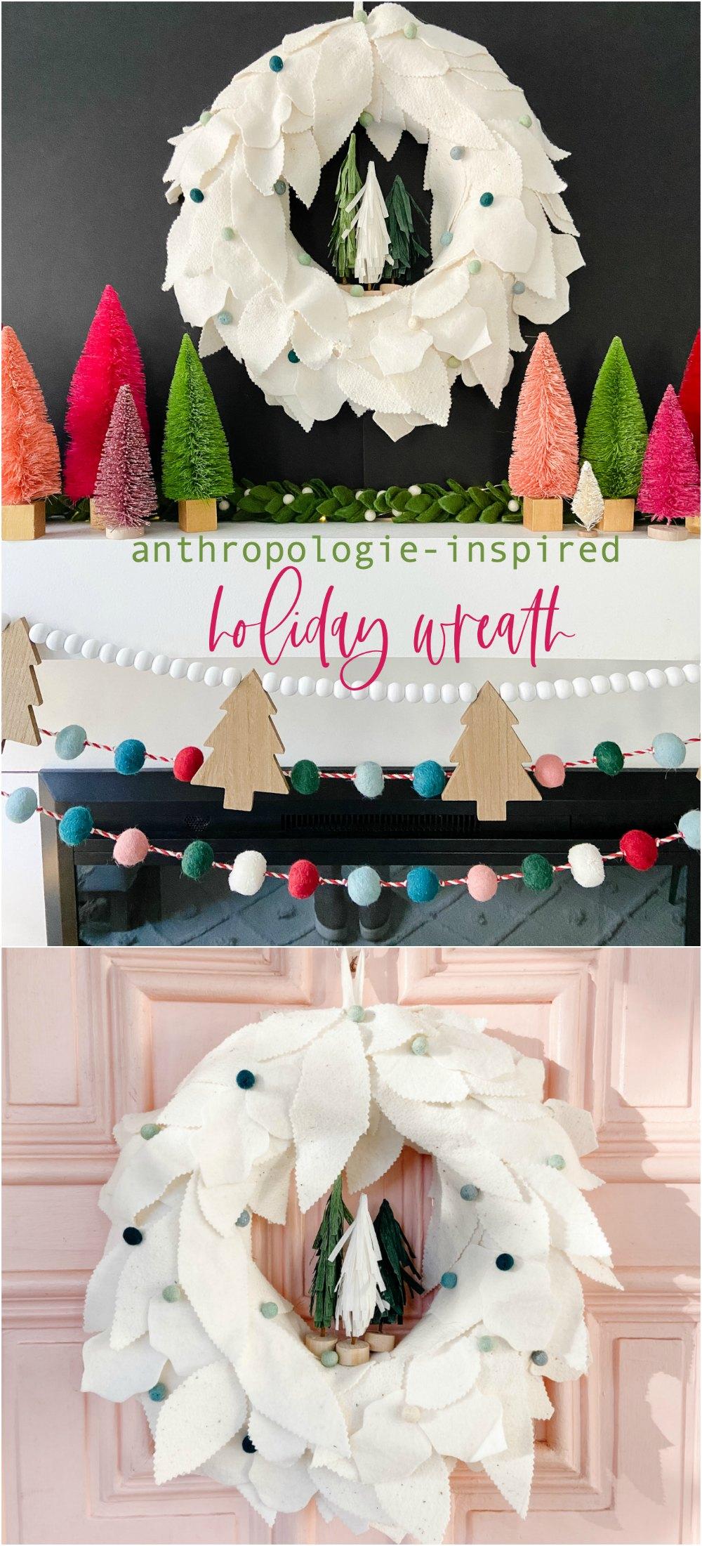 Anthropologie-inspired felt holiday leaf wreath