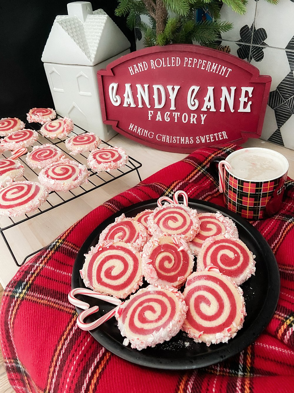 Frosted Candy Cane Pinwheel Cookies