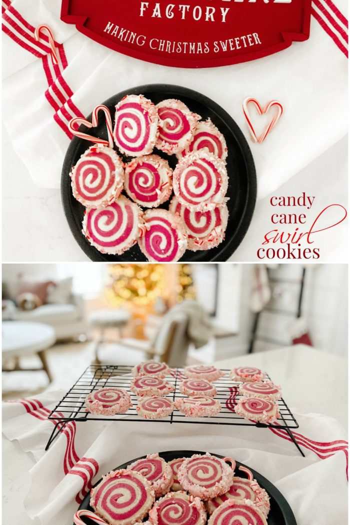 Candy Cane Frosted Swirl Cookies