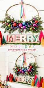 Colorful Holiday Embroidery Hoop Ornament Wreath