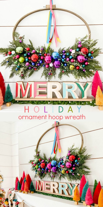Holiday Ornament Hoop Wreath