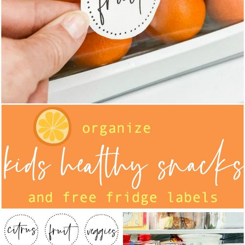 Organiz healthy snacks and lunch items and free labels